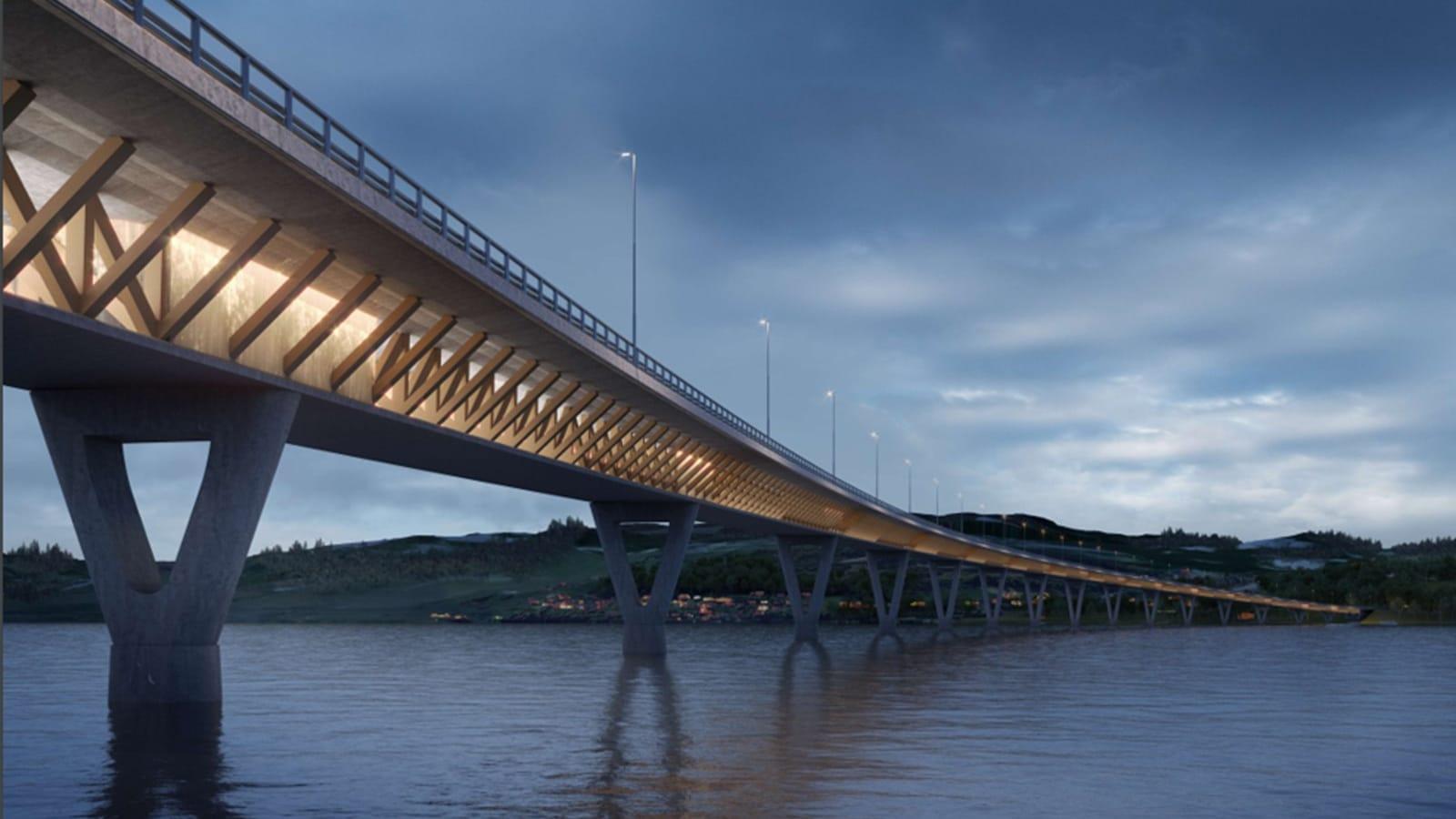 Nye Mjøsbroa: Lettere og lavere CO2-utslipp gjennom bruk av tre